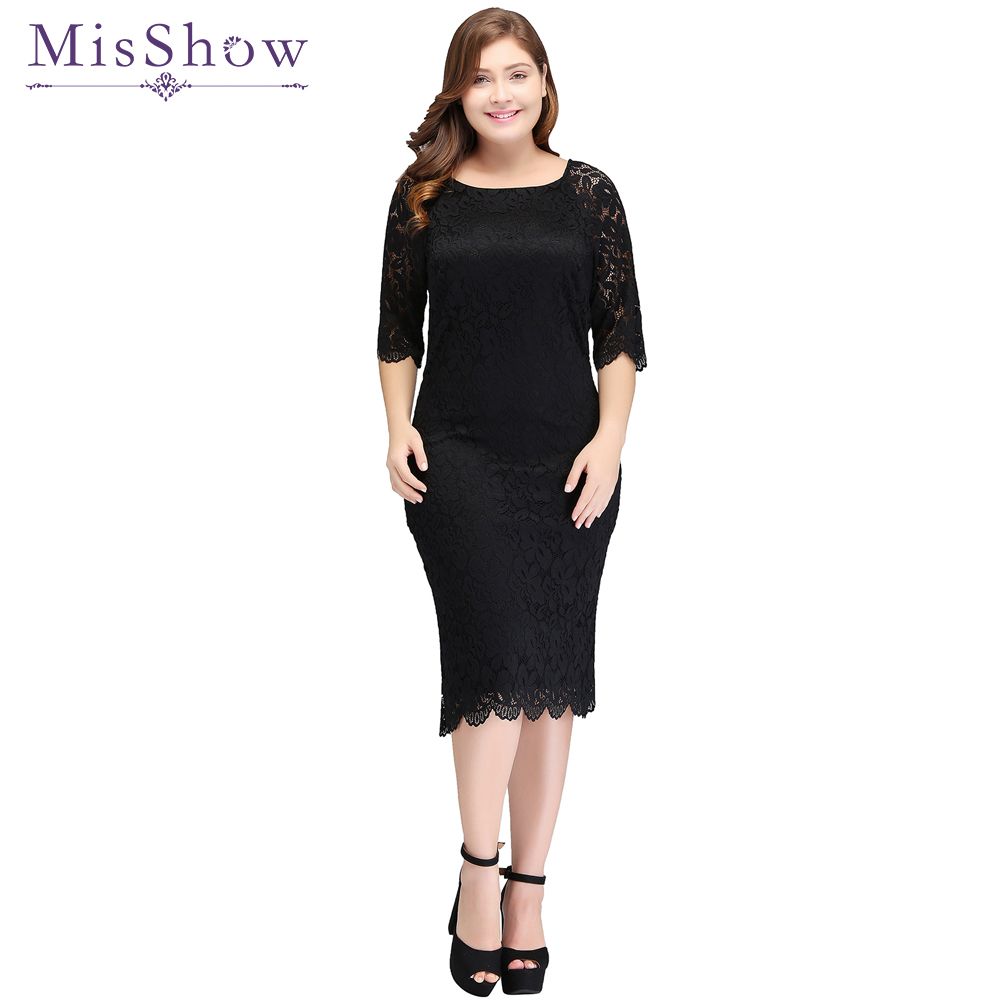Plus Size Womens Short Cocktail Dress Half Sleeves Scoop Knee Length Dress Black Lace Sheath Zipper Up Cocktail Party Dresses