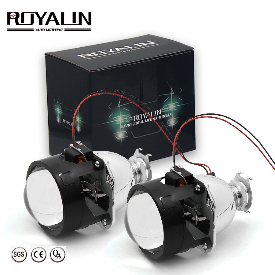 ROYALIN Bi Xenon HID H1 Mini Projector Lens 2.5 '' Auto Headlight Halogen Lens Hi / Lo Beam ar gyfer H4 H7 Bwlb Steilio Car Ôl-ffitio DIY