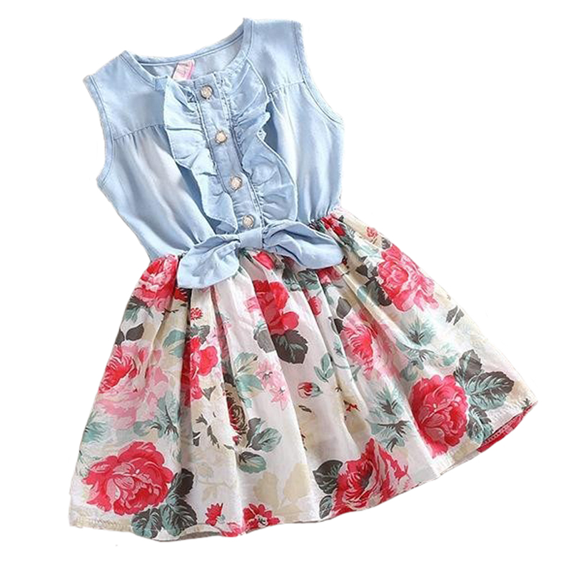 Girls Dress Summer Girl Flower Dress Baby Sleeveless Dresses Children Denim Dresses Kids Party Princess Clothes YYT257