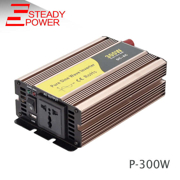 High frequency 300w solar power inverter dc 24v ac 220v pure sine wave inverter for car