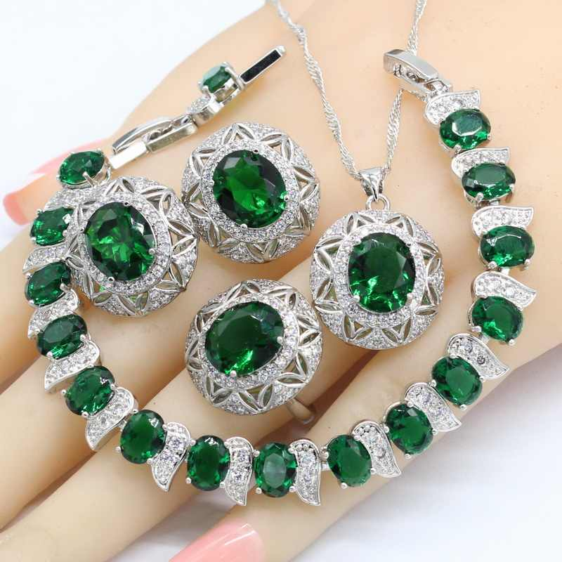 Silver Color Jewelry Sets For Women Gift Green Semi-precious Necklace Pendant Stud Earrings Ring Bracelet 2018 New