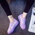 2016 Novas Mulheres Da Moda Sapatos Casuais Sapatos de Lona Ocasional do Outono do Verão Sólidos Sapatos Baixos Mulheres Lace-Up Sapatos Respirável