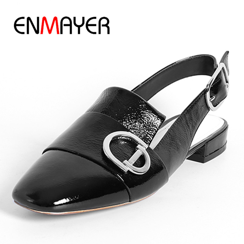 ФОТО ENMAYER Classic Black Shoes Woman Flats Summer Sandals Leather Casual Shoes Size 34-39 Jelly Shoes in Women's Buckle Strap Flats