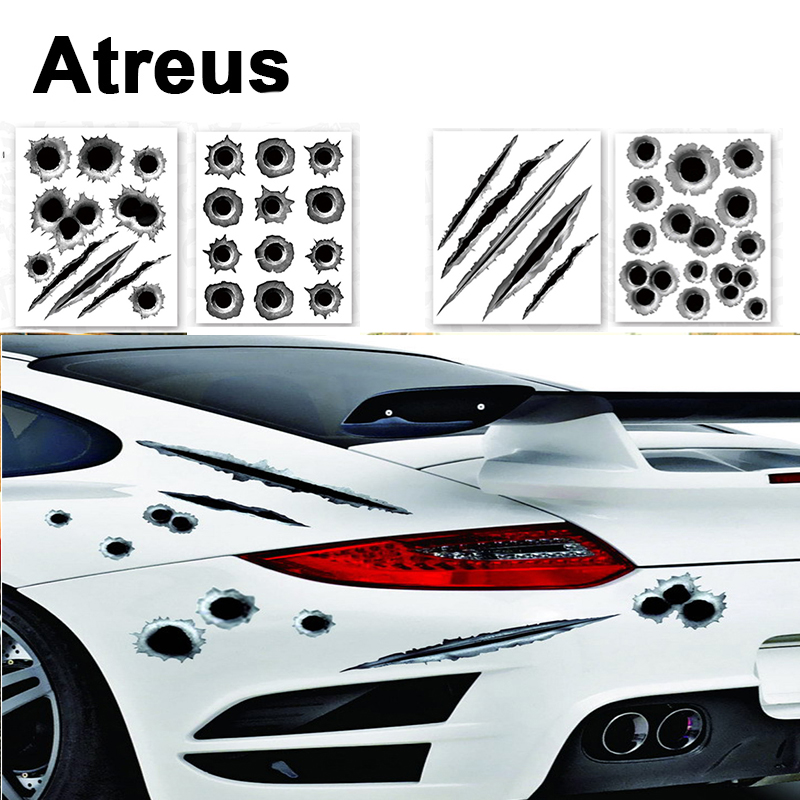 Atreus 3D Cool Bullet Hole Car Stickers Covers Styling For VW polo passat b5 b6 Mazda 3 6 cx-5 Toyota corolla Ford focus 2 Seat