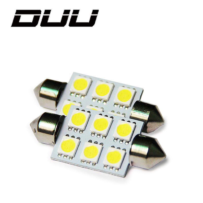 DUU 10 Pcs Led Car Reading Light Bulb Kit Universal 36mm 39mm Super Bright 5050 6 SMD Canbus Error Free Auto Interior Doom Lamp