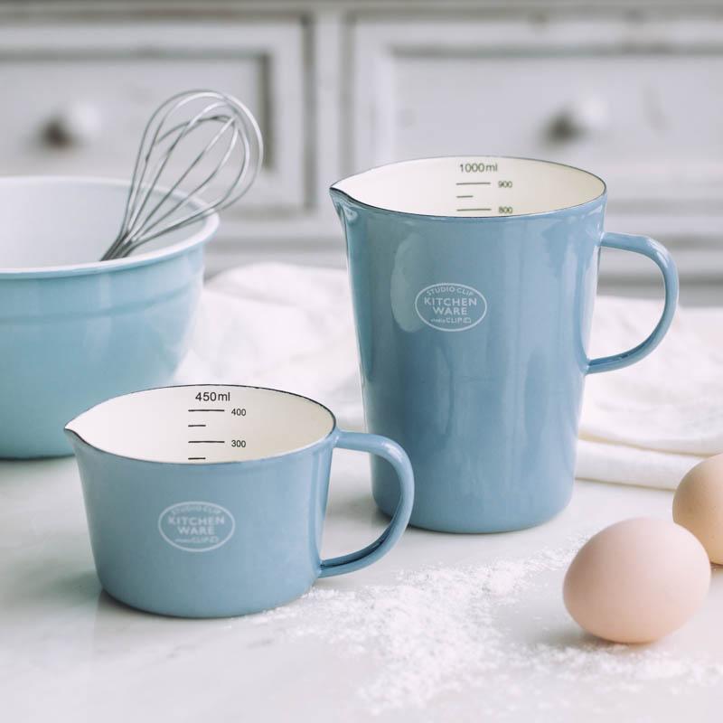 에나멜 측정 컵 규모 우유 수 커피 컵 물 컵