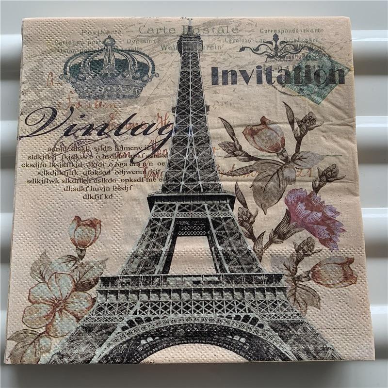 Decoupage Napkin Paper Wedding Birthday Party Tissue Elegant Handkerchief Print Tower Flower Crown Vintage Servilletas Decor