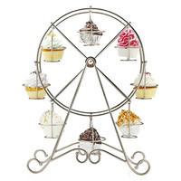 Newcomdigi Practical Ferris Wheel 8 Cups Silver Stainless Steel Cupcake Stand Cake Holder Decorating Display Party Supplies