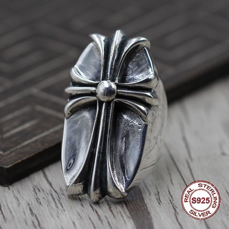 S925 pur argent hommes anneau de personnalité Reconstituant Des manières antiques Le punk style Grande croix classique anneau Cadeau à votre amant
