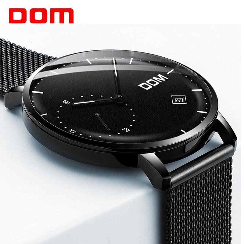 6b9e73d5434 Homens DOM Assistir top de Luxo Relógio Analógico de Quartzo de Couro  Relógio de Pulseira de Aço Calendário Completo Relógio À Prova D  Água Homem  Relogios ...