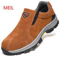 Men Steel Toe Safety Work Shoes Fashion Breathable Slip on Boots Mens genuine leather Labor Insurance Puncture Proof Shoes Man mycolen new mens genuine leather boots fashion slip on pointed toe ankle shoes men leisure business office work boots man