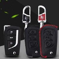 Teeze Premium Lederen 3 Knoppen Afstandsbediening Vouw Sleutelhouder Fob Case Cover Toyota Camry 2015-2016