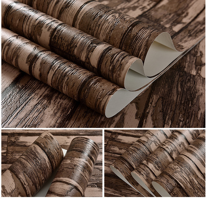 10M Vintage Wall Paper Waterproof PVC Wallpapers 3d Wallpaper Vertical stripes 3D Wall Panels Vinyl Wood Wallpaper Roll for Wall modern personalized wallpaper roll 3d stereoscopic square wall paper waterproof pvc vinyl contact wallpapers design home decor