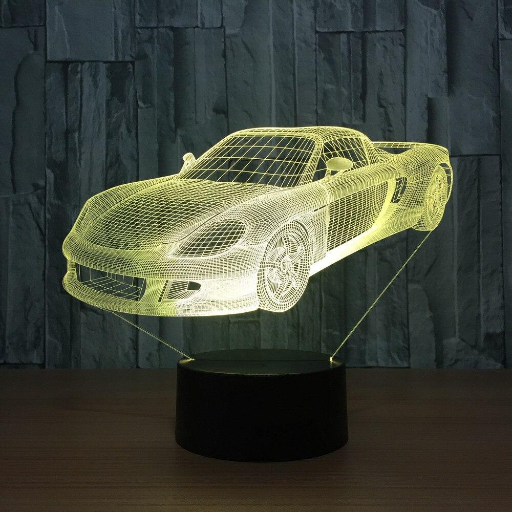 Novelty 3D LED Desk Table Lamp USB Bedroom Visual Sports Car Shape Night Lights Baby Bedside Sleep Xmas Decor Lighting Fixture