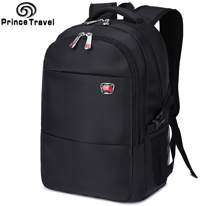 ФОТО Prince travel high quality men's backpack black waterproof nylon male backpack 15'' laptop bag school portfolio for teenagers