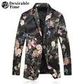 2017 Homens De Veludo Slim Fit Blazer Plus Size M-5XL DT451 Figurinos Para Os Cantores de Moda Mens Jaqueta Blazer Floral