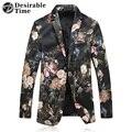 2017 de Terciopelo de Los Hombres Slim Fit Blazer Trajes de la Etapa Para Los Cantantes de La Manera Más El Tamaño M-5XL Hombres Floral Blazer Jacket DT451