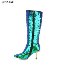 NEMAONE New bling women high heels bknee high boots winter warm dancing shoes woman ladies party dress shoes large size 42 43