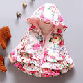 2017 New Winter baby jacket coats girl outerwear children floral outerwear Hooded Jacket Children's clothing