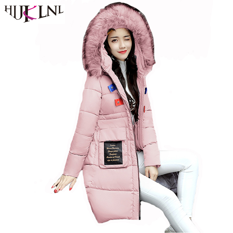 HIJKLNL Winter Jacket Coat Women 2017 High Quality Long Style Letter Hooded Fur Collar Cotton Parka Mujer Female Overcoat NA314 hijklnl women casual letter printed hooded long jacket 2017 winter thick coats female loose overcoat cotton parka mujer na340