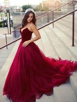 Burgundy A Line Evening Dresses 2019 Women Strapless Neck robe de soiree Sleeveless Formal Party Lace Up Floor Length Long Gowns