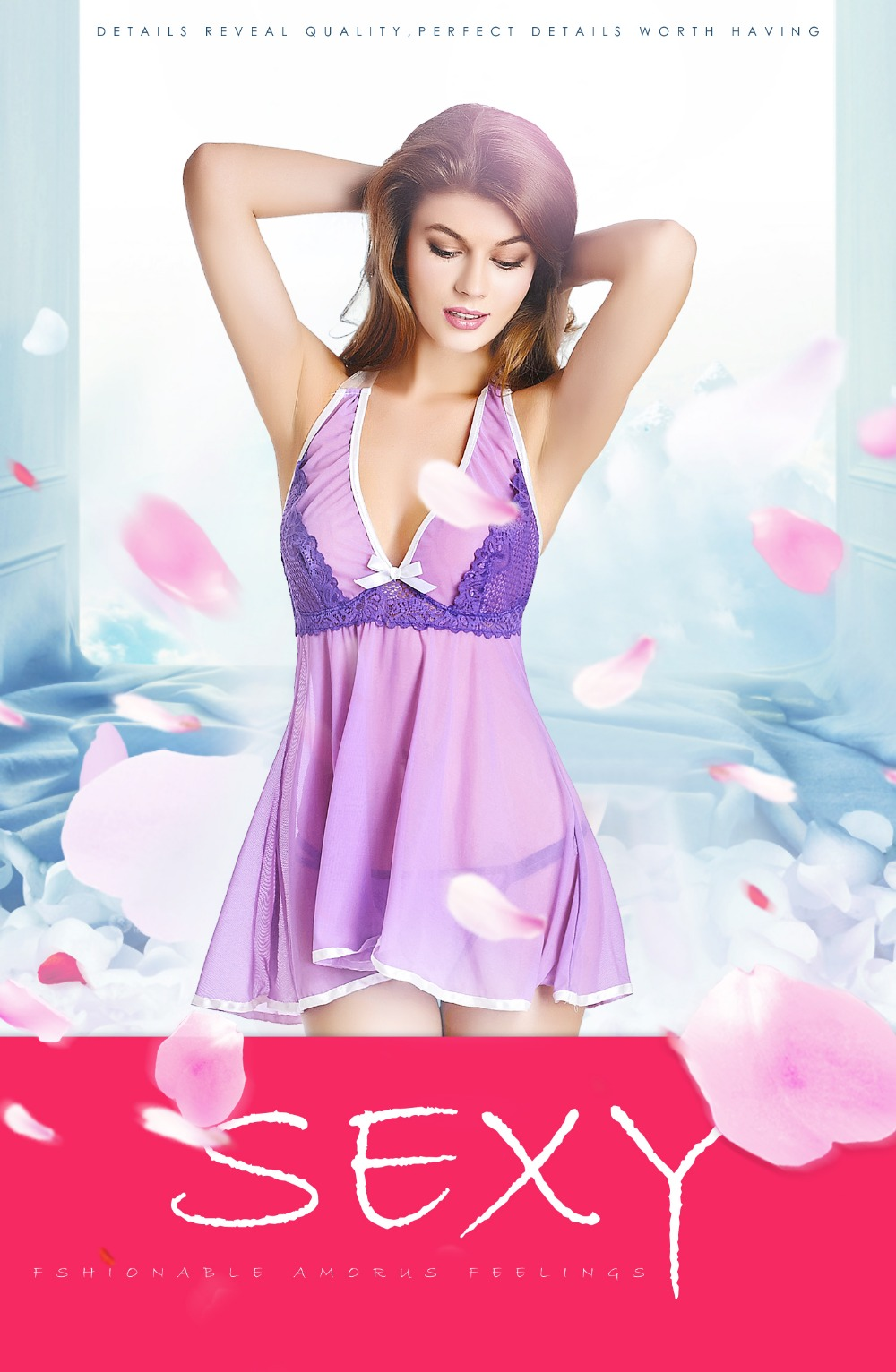 84848dc082 2019 Sleepwear Women Sleepwear Sexy Negligee Women Dresses Pyjamas ...