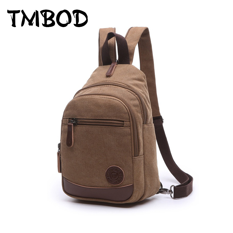 New 2019 Fashion Vintage Men Small Backpack Canvas Water Proof Bags For Male Backpacks Military Shoulder Bag Bolsas An678