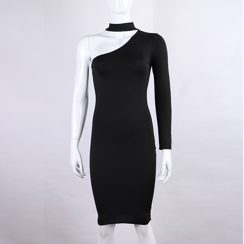 One Shoulder Halter Long Sleeve Women Pencil Dress Sexy Club Bodycon Party Dresses (4)
