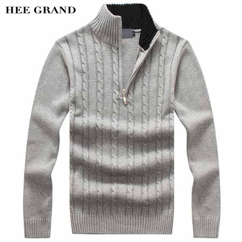 HEE GRAND Hommes Casual Chandail De Coton Ensemble Matériel Stand Col Mince  Laine Aurtumn Hiver Pulls 4 Couleurs Taille M-3XL MZM505 b77380a3539