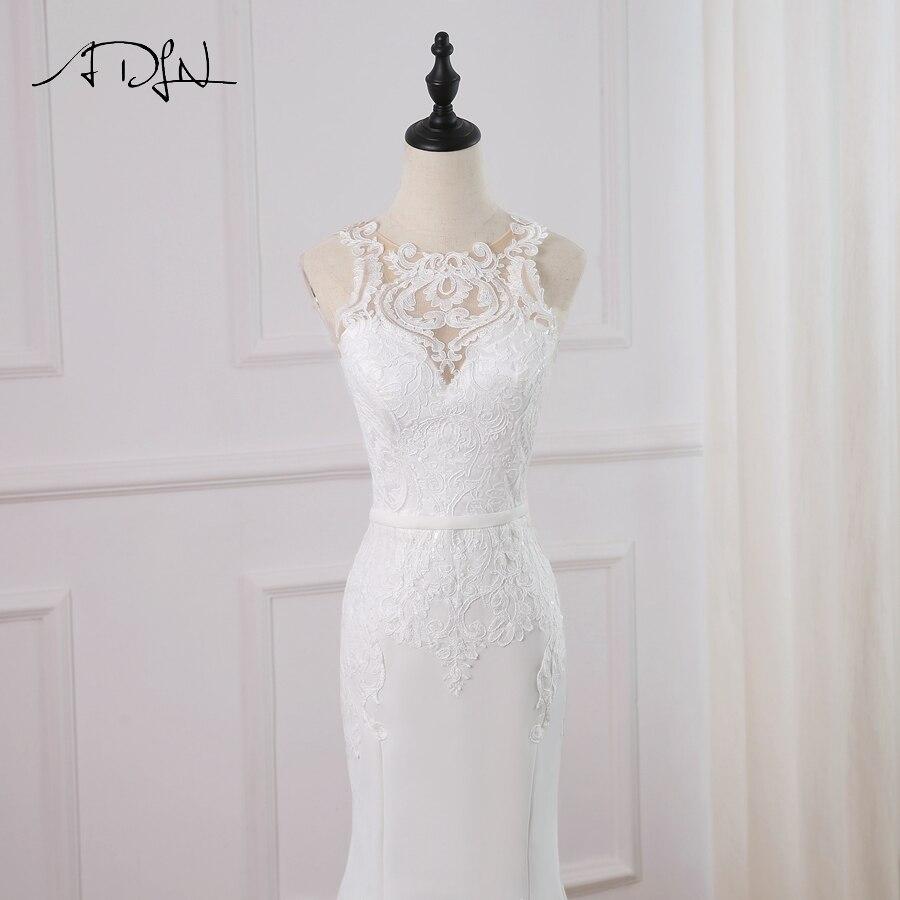 O-neck Sleeveless Applique Zip Buttons Mermaid Wedding Dress