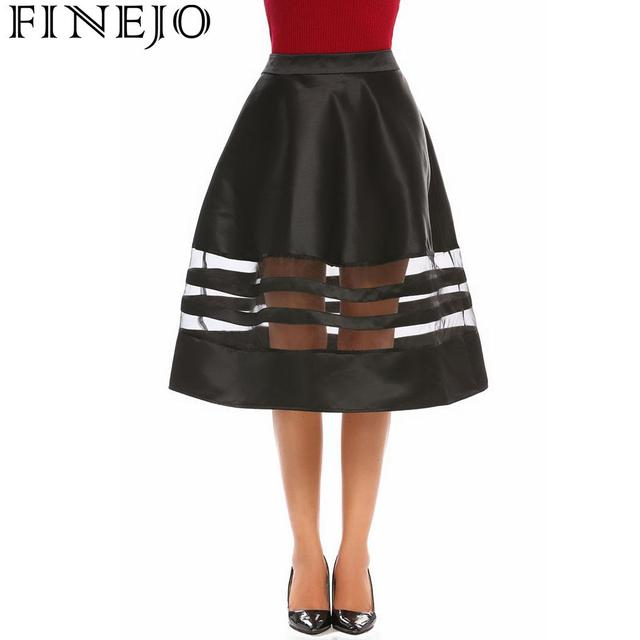 FINEJO Waist High Women Organza Patchwork Flared Casual Party Midi Skirt