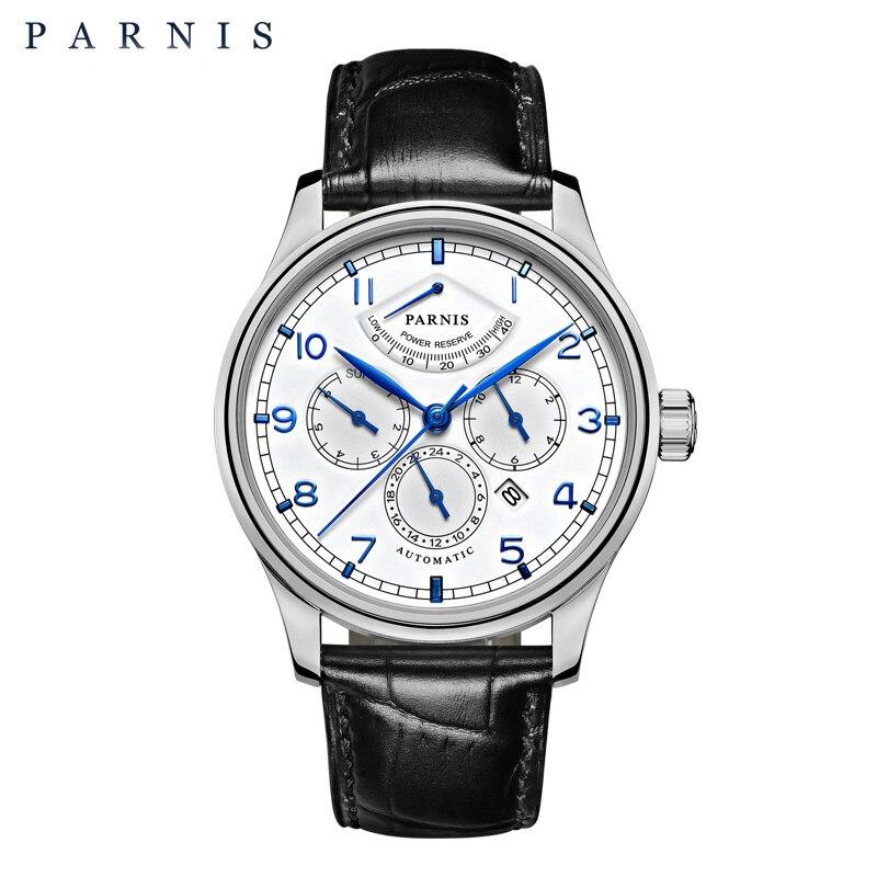 Parnis 42 мм автоматические часы Moon Phase мощность резерв часы для мужчин Элитный бренд Топ Miyota механические намотки часы PA6062-A подарок для мужчин