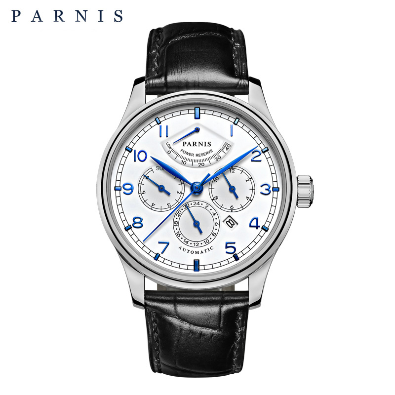 Parnis 42mm montre automatique Phase de lune montre de réserve de puissance hommes marque de luxe Top miborough mécanique remontoir montre PA6062-A cadeau hommes