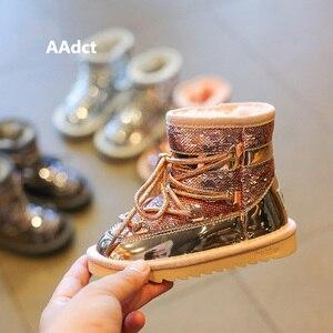 Image 3 - AAdct Botas cálidas de piel de invierno para niñas, botines de Princesa a la moda para niños de nieve para niñas, zapatos de algodón con lentejuelas, marca 2019