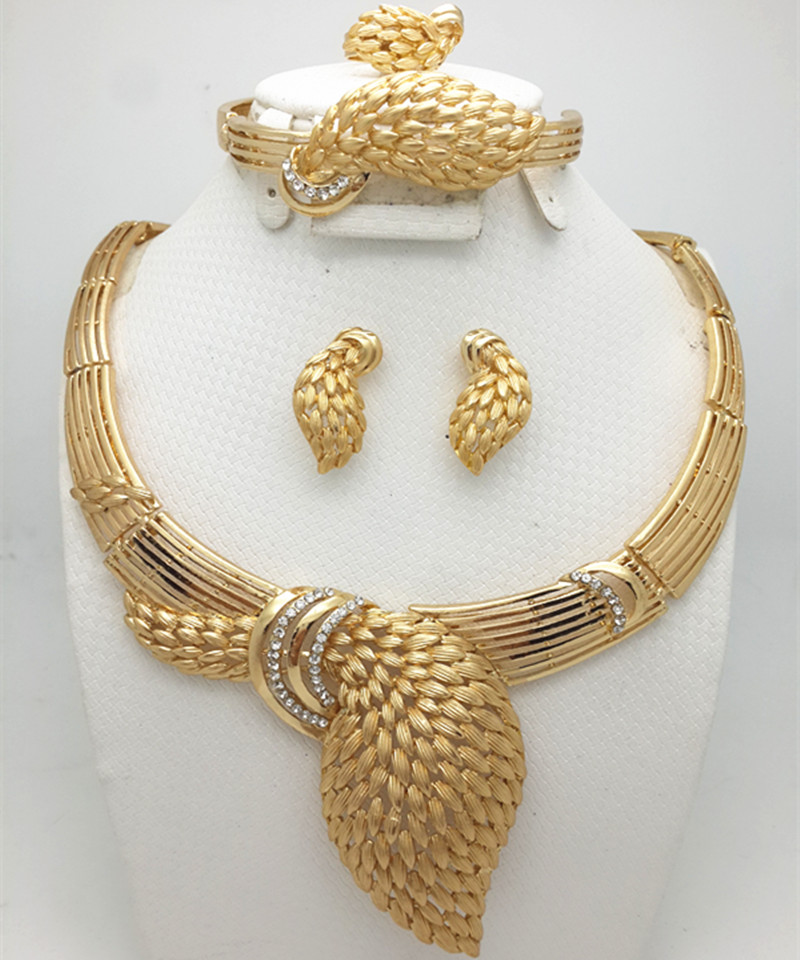 Zuodi Hot Exquisite Dubai Jewelry Set Luxury Gold Color Big Nigerian Wedding African Beads