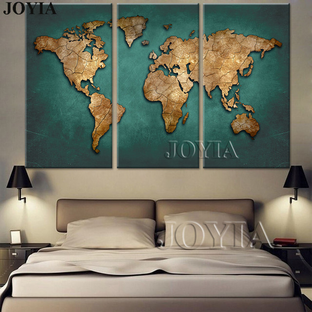 World Map Canvas Wall Art Vintage Dark Green Global Maps Paintings