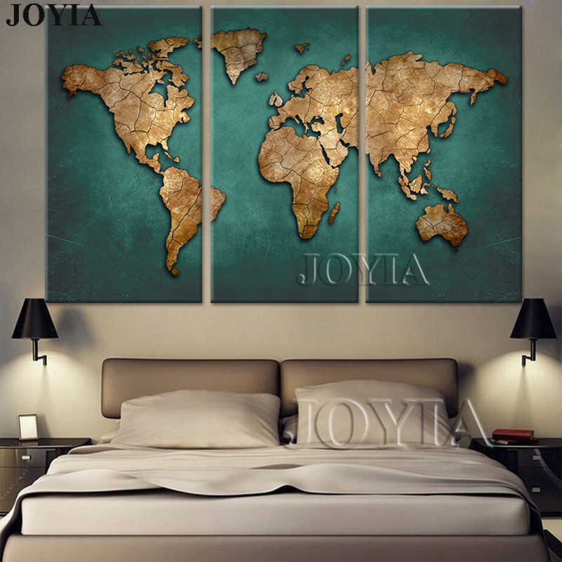 Aliexpress Com Buy Unframed 3 Panel Vintage World Map: Aliexpress.com : Buy World Map Canvas Wall Art Vintage