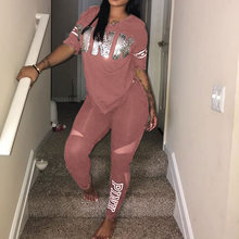 Women Two Piece Set Pink Letter Print Tracksuits 2019 Casual Bodcon 2 Piece Set Spring Plus Size T-Shirt Top And Pants Set Suits velvet lace trim slit cami dress
