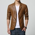 M-5XL 6XL 7XL Autumn Winter Slim Mens Motorcycle Leather Blazer Jacket Coat Black Brown Yellow Pu Leather Blazer For Big Men