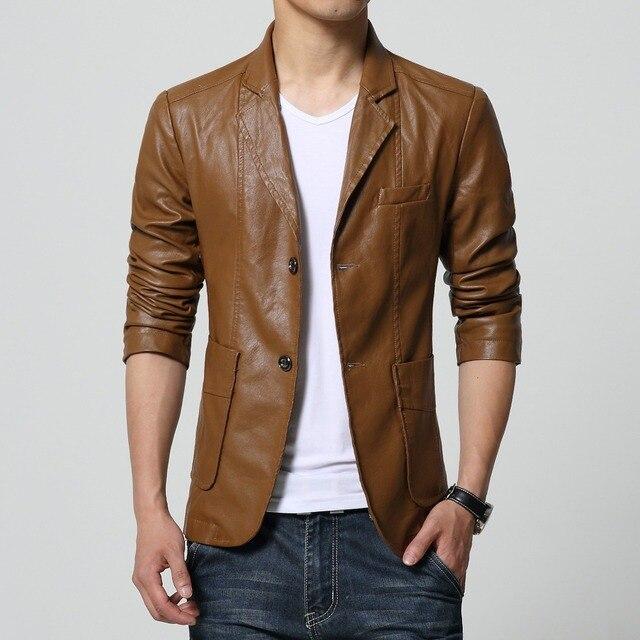 M-5XL 6XL 7XL Autumn Winter Slim Mens Motorcycle Leather Blazer Jacket Coat Black Brown Yellow Pu Leather Blazer For Big Men