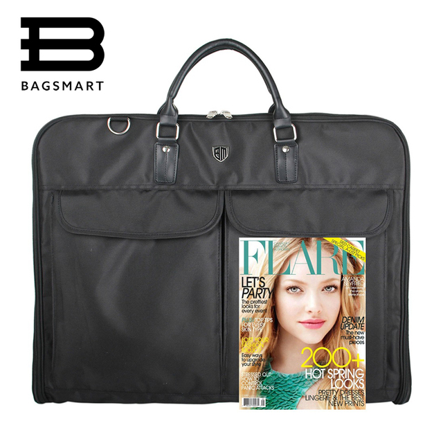 BAGSMART Waterproof Black Zipper Garment Bag With Hanger Clamp Waterproof Suit Bag Durable Men Business Trip Travel Bag For Suit