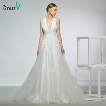 Dressv elegant sample v neck a line wedding dress sleeveless zipper up floor length simple bridal gowns
