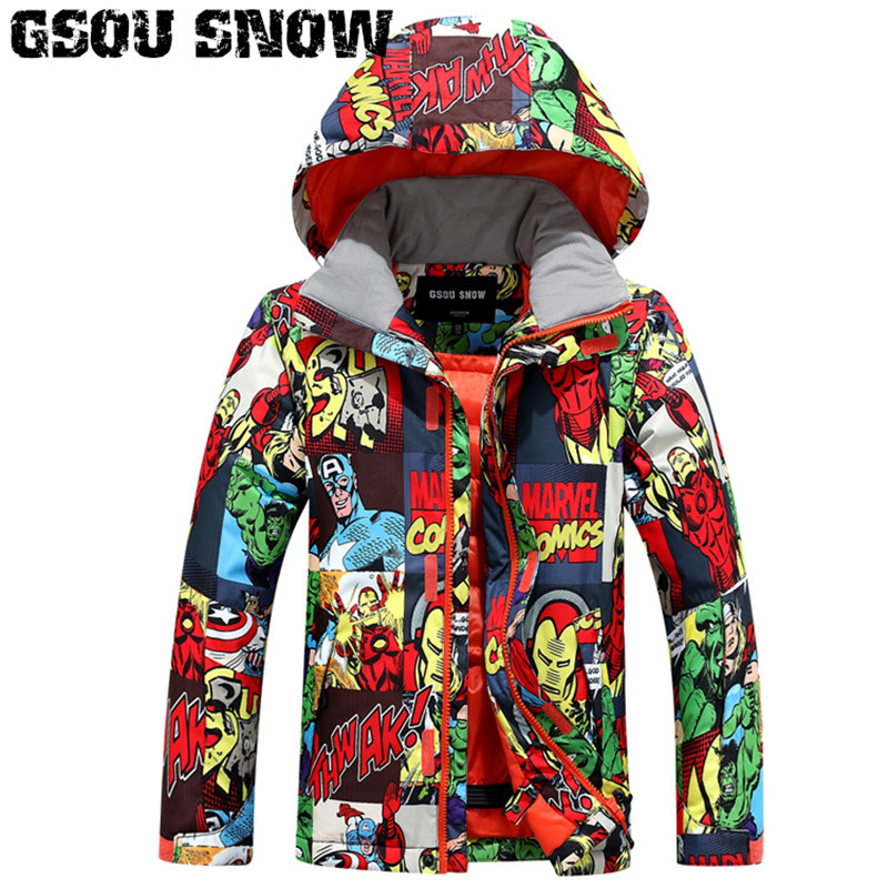 2018 Gsou Snow Kids Ski Jacket Windproof Waterproof Outdoor Sport Wear Skiing Snowboard Thermal Boys Children Snowboard Clothing 2018 gsou snow men ski jacket snowboard clothing windproof waterproof thermal breathable male clothing outdoor sport wear winter