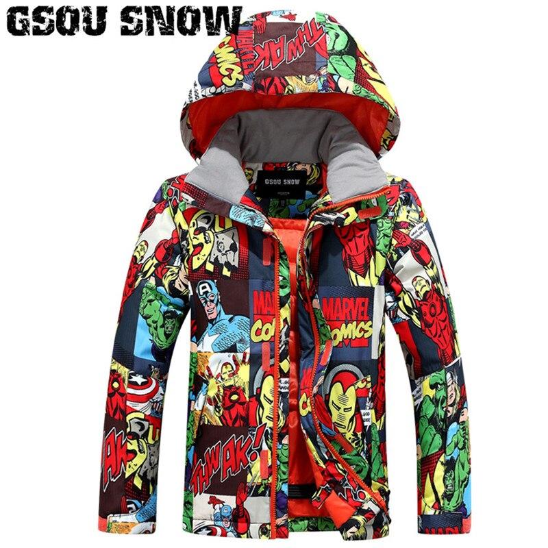 2019 Gsou neige enfants veste de Ski coupe-vent imperméable à l'eau en plein air Sport porter Ski Snowboard thermique garçons enfants Snowboard vêtements