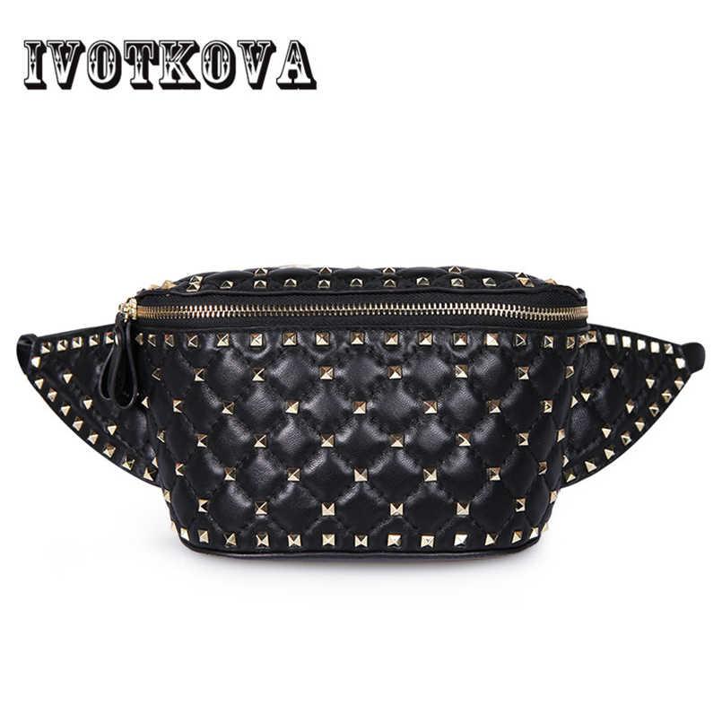 8056805ef2fe Fashion Women Rivet Waist Bags Black White Waist Packs Star Same ...