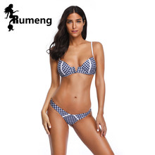 RUMENG 2019 New Bikinis Lattice Swimwear Women Deep V Swimsuit Sexy Push Up Bikini Set Maillot De Bain Feme Bathing Suit Biquini