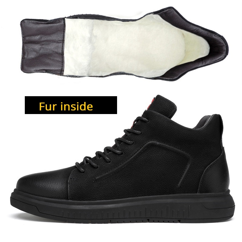 Big size 36-47 Genuine Leather Mens Boots Winter Warm Ankle Snow Boots Men Shoes Fashion Cow Motorcycle Casual Boots Walkerpeak