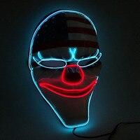Ledハロウィンサウンド活性化アメリカフラグピエロマスクネオン光るパーティーsuppliestypeカーニバル恐怖光るゴーストマスク