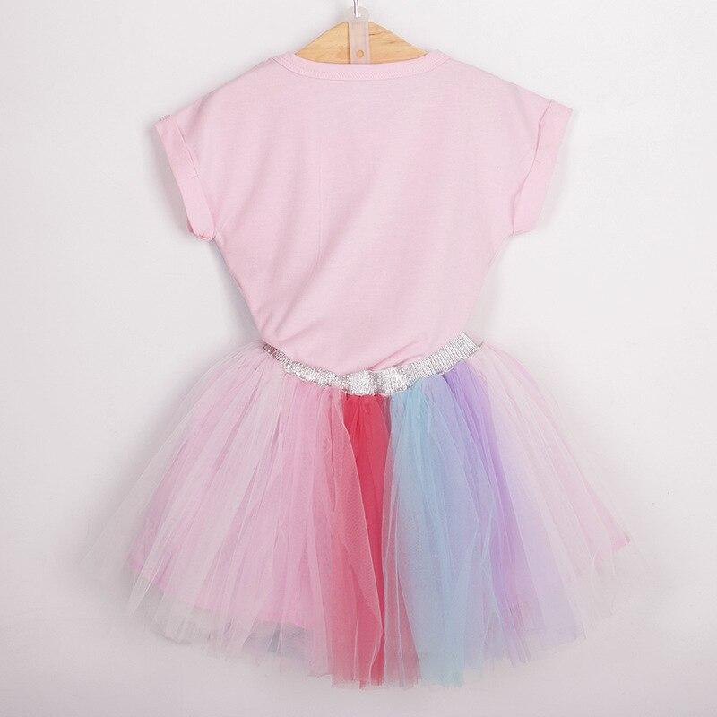 cf3ae615 Girls dress Unicorn print T shirt top and rainbow color TUTU dress 2pcs set  baby girls flower stripe summer clothing set H1000-in Dresses from Mother &  Kids ...