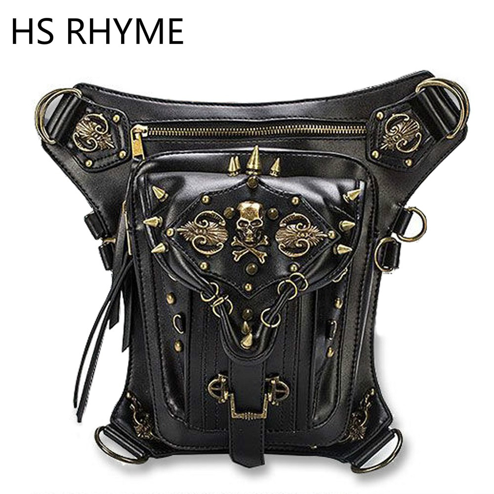 HS RHYME Fashion Gothic Steampunk Skull Retro Rock Bag Men Women Waist Mochilas Shoulder Bolso Phone Case Holder Messenger Sac